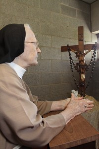 Sr. Mary Alfred praying in our prayer room