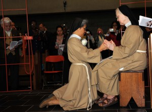 Sr. Maria Eden professing her solemn vows into the hands of Sr. Evelyn, our abbess